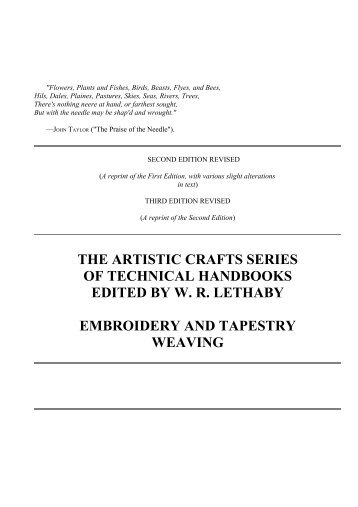 The Project Gutenberg eBook of Embroidery and Tapestry Weaving ...