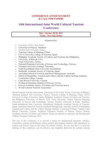 14th International Joint World Cultural Tourism Conference