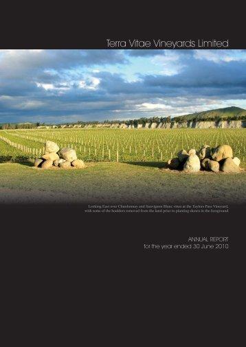 Annual Report 2010 - Terra Vitae Vineyards