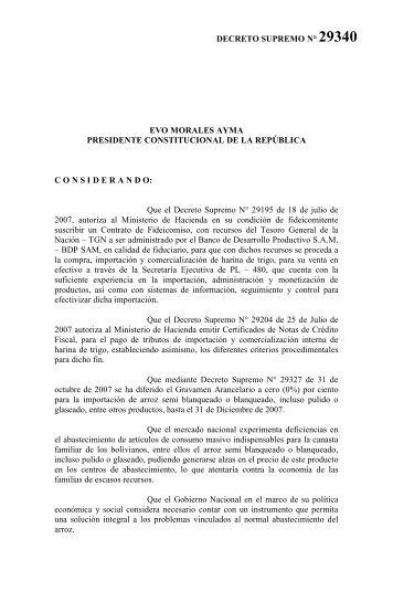 DECRETO SUPREMO N° 29340 1. 2. 3. 4. 5. 6. EVO ... - BDP