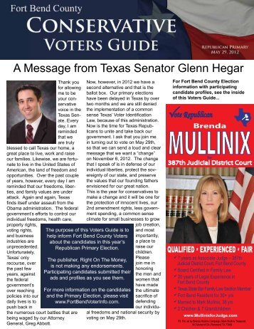 Fort Bend County Conservative Voters Guide - Right On The Money