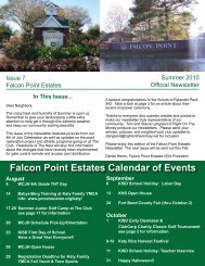 Falcon Point Estates Calendar of Events - Right On The Money