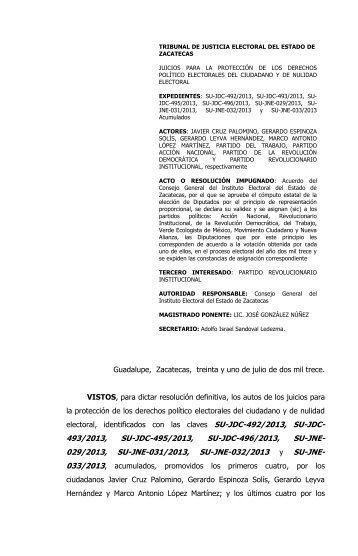 su-jdc-492/2013 y acumulados - Tribunal de Justicia Electoral del ...
