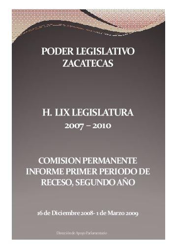Primer Período de Receso - Congreso del Estado de Zacatecas