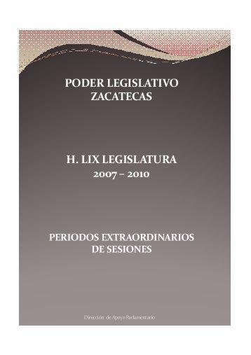 Períodos Extraordinarios - Congreso del Estado de Zacatecas