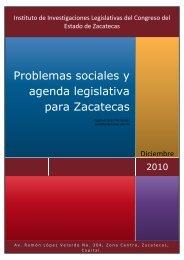 investigación problemas sociales y agenda legislativa para zacatecas