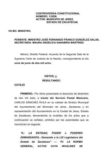 Controversia Constitucional Numero 1/2008 Actor: Municipio de Jerez