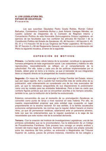 INICIATIVA DE REFORMAS AL CODIGO FAMILIAR Y DE ...
