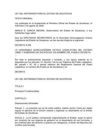 Ley del notariado para el estado de zacatecas - Secretaría de ...