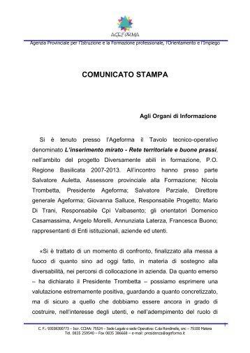 COMUNICATO STAMPA - ageforma