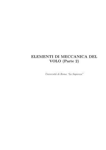 ELEMENTI DI MECCANICA DEL VOLO (Parte 2) - Sapienza
