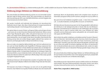Durmersheimer Erklärung - Boule Club Kreuzberg