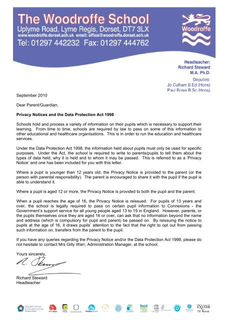 Letter for parents for website 170910 - The Woodroffe School