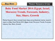 Baby Food Market 2014 (Egypt, Israel, Morocco) Trends, Forecasts, Industry, Size, Share, Growth