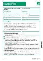 Antrag zum PSD OnlineBanking - PSD Bank Hannover eG