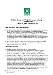 Wahlordnung zur Vertreterversammlung der PSD Bank Hannover eG