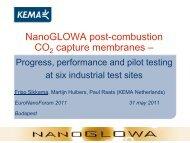 NanoGLOWA post-combustion CO2 capture membranes – - EuroNanoForum 2011