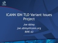 ICANN IDN TLD Variant Issues Project - RIPE 63