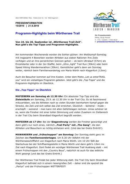 Programm-Highlights beim Wörthersee Trail - trail-maniak
