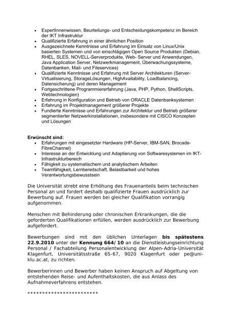 Die Alpen-Adria-Universität Klagenfurt schreibt gem. § 107 Abs. 1 ...