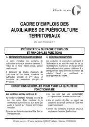 cadre d'emplois des auxiliaires de puériculture territoriaux - Centre ...