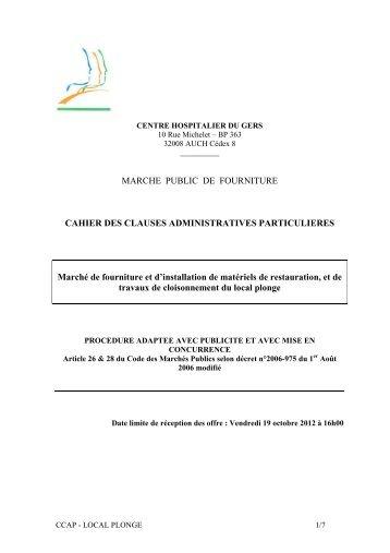 MARCHE PUBLIC DE FOURNITURE CAHIER DES CLAUSES ...
