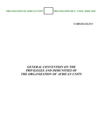 GENERAL CONVENTION PRIVILEGES - African Union