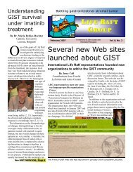 Several new Web sites launched about GIST - The Life Raft Group