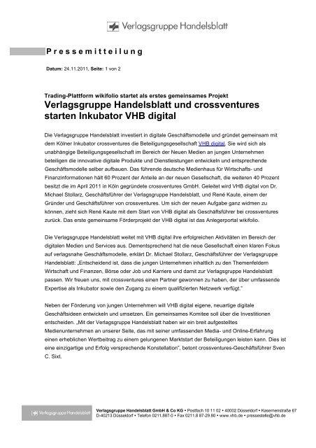 Verlagsgruppe Handelsblatt und crossventures starten ... - Wikifolio