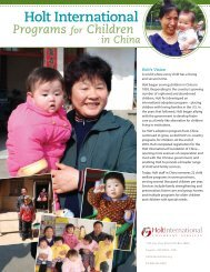 a downloadable PDF of the China Program flyer - Holt International