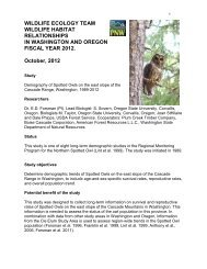 Demographic characteristics of northern spotted owls in the Eastern ...
