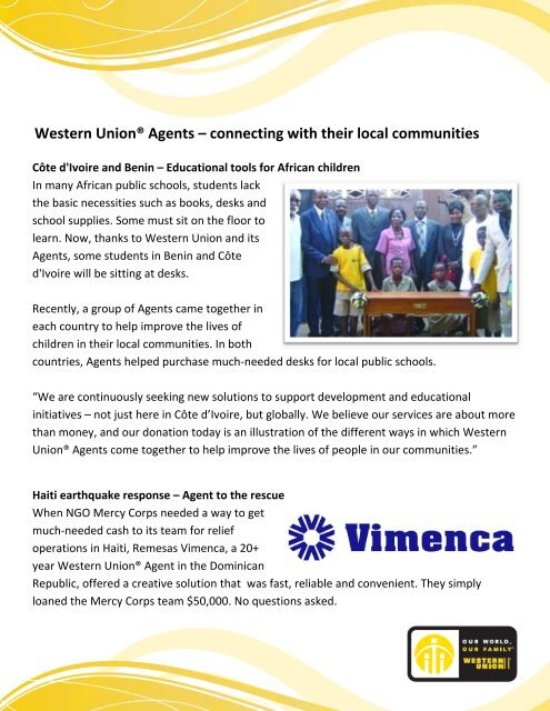 Western Union® Agents – connecting with their local