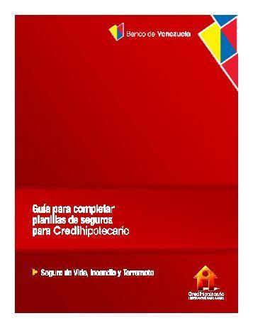 GUIA de llenado Planilla SEGURO VIT - Banco de Venezuela