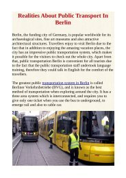 Realities About Public Transport In Berlin