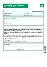 Antrag zum TelefonBanking -  PSD Bank Hannover eG