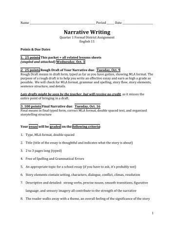 narrative essay assignment high school Read story high school life (essay) by katenicooole (kate nicole) with 100,553 reads crooked, student, life high school life (essay) by katenicooole.