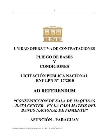 PLIEGO DATA CENTER 2011.pdf - Banco Nacional de Fomento