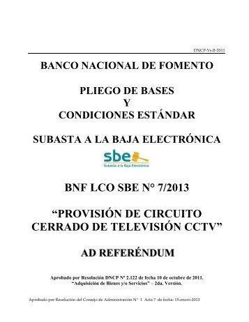 PLIEGO DE BASES Y CONDICIONES - Banco Nacional de Fomento