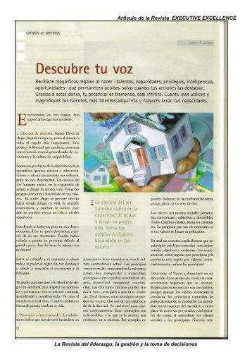 Artículo de la Revista EXECUTIVE EXCELLENCE La ... - Valores