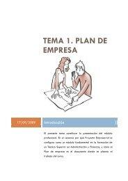 TEMA 1. PROYECTO EMPRESARIAL. PLAN DE EMPRESA