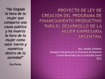 PROYECTO DE LEY DE CREACIÓN DEL PROGRAMA DE ...