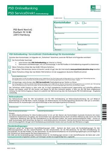Antrag PSD OnlineBanking  / PSD Service Direkt - PSD Bank Nord eG