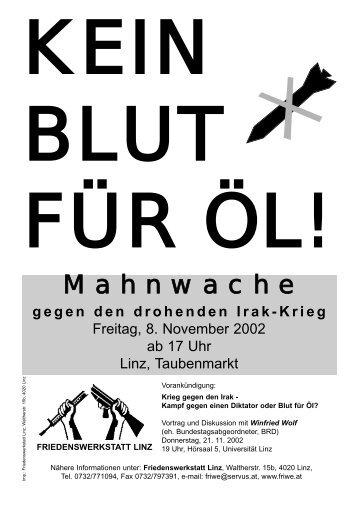 Mahnwache - Friedenswerkstatt Linz