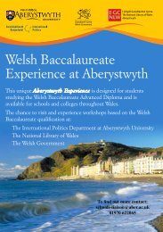 Welsh Baccalaureate Experience at Aberystwyth - Gwasanaeth ...