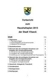 Vorbericht zum Haushaltsplan 2013 der Stadt Vilseck Inhalt - Freie ...