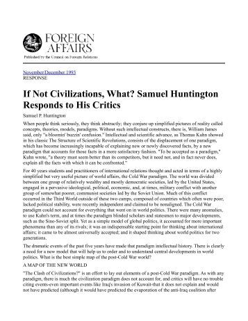 an analysis of samuel p huntingtons the clash of civilizations The clash of civilizations by samuel p huntington, 9780743231497, available at book depository with free delivery worldwide.
