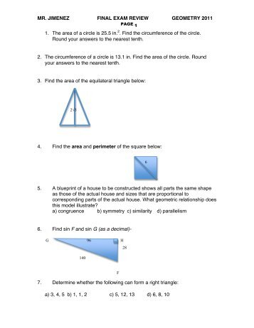 Study Guide for Final Exam Honors Geometry 1. Explain what is ...