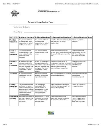 critical literary essay rubric