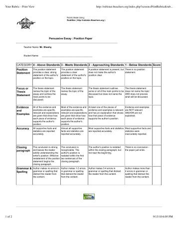 thesis writing prompts  Persuasive Essay Rubric High School   salutation punctuation