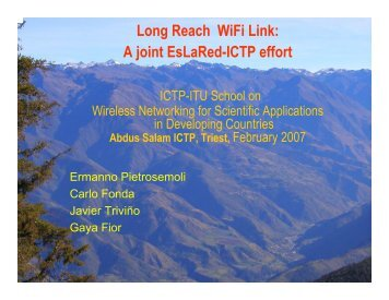 Long Reach WiFi Link - Wireless@ICTP